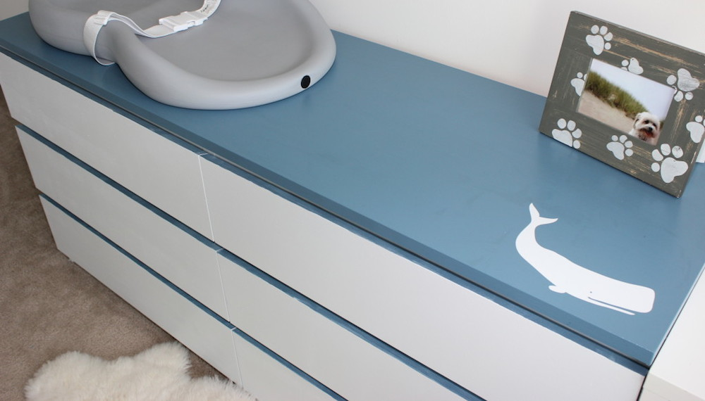 Painted Ikea Malm Drawers in a Nursery